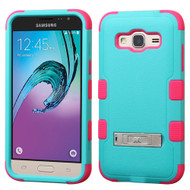 Military Grade TUFF Hybrid Kickstand Case for Samsung Galaxy Amp Prime / Express Prime / J3 / Sol - Teal Hot Pink