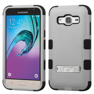 Military Grade TUFF Hybrid Kickstand Case for Samsung Galaxy Amp Prime / Express Prime / J3 / Sol - Grey