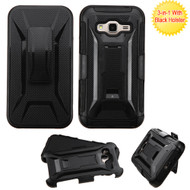 Tough Armor Hybrid Kickstand Case with Holster for Samsung Galaxy Amp Prime / Express Prime / J3 / Sol - Black