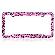 License Plate Frame - Leopard Pink
