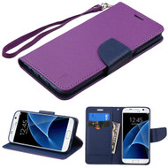 Leather Wallet Shell Case for Samsung Galaxy S7 - Purple