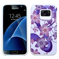 Hybrid Multi-Layer Armor Case for Samsung Galaxy S7 - Hibiscus Flower Romance Purple