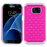 TotalDefense Diamond Hybrid Case for Samsung Galaxy S7 - Hot Pink White