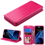 Book-Style Leather Folio Case for Samsung Galaxy S7 - Hot Pink