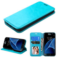 Book-Style Leather Folio Case for Samsung Galaxy S7 - Blue