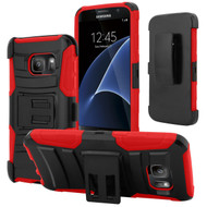 *SALE* Advanced Armor Hybrid Kickstand Case with Holster for Samsung Galaxy S7 - Black Red