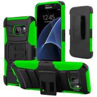 *SALE* Advanced Armor Hybrid Kickstand Case with Holster for Samsung Galaxy S7 - Black Green