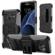 *SALE* Advanced Armor Hybrid Kickstand Case with Holster for Samsung Galaxy S7 - Black Grey