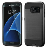 Brushed Hybrid Armor Case for Samsung Galaxy S7 Edge - Black