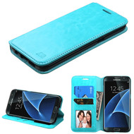 Book-Style Leather Folio Case for Samsung Galaxy S7 Edge - Blue
