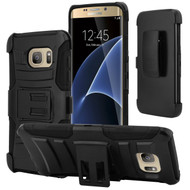 Advanced Armor Hybrid Kickstand Case with Holster for Samsung Galaxy S7 Edge - Black