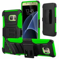 *SALE* Advanced Armor Hybrid Kickstand Case with Holster for Samsung Galaxy S7 Edge - Black Green