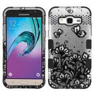 Military Grade TUFF Image Hybrid Armor Case for Samsung Galaxy Amp Prime / Express Prime / J3 / Sol - Lace Flowers Black