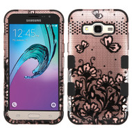 Military Grade TUFF Image Hybrid Armor Case for Samsung Galaxy Amp Prime / Express Prime / J3 / Sol - Lace Flowers