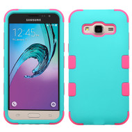 *SALE* Military Grade TUFF Hybrid Armor Case for Samsung Galaxy Amp Prime / Express Prime / J3 / Sol - Teal Hot Pink