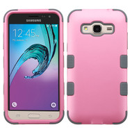 Military Grade TUFF Hybrid Armor Case for Samsung Galaxy Amp Prime / Express Prime / J3 / Sol - Pearl Pink Grey