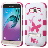 Military Grade TUFF Image Hybrid Kickstand Case for Samsung Galaxy Amp Prime / Express Prime / J3 / Sol - Butterfly