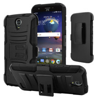 Advanced Armor Hybrid Kickstand Case with Holster for ZTE Grand X 3 / Warp 7 - Black