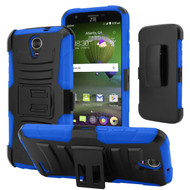 *SALE* Advanced Armor Hybrid Kickstand Case with Holster for ZTE Grand X 3 / Warp 7 - Black Blue