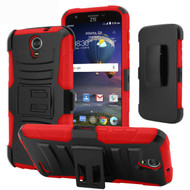Advanced Armor Hybrid Kickstand Case with Holster for ZTE Grand X 3 / Warp 7 - Black Red