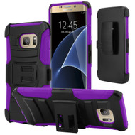 Advanced Armor Hybrid Kickstand Case with Holster for Samsung Galaxy S7 Edge - Black Purple