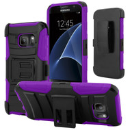 *SALE* Advanced Armor Hybrid Kickstand Case with Holster for Samsung Galaxy S7 - Black Purple