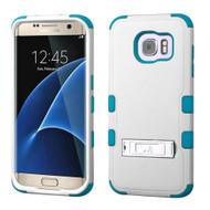 Military Grade Certified TUFF Hybrid Kickstand Case for Samsung Galaxy S7 Edge - White Teal