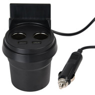 *SALE* Cup Holder Style Dual USB Port / DC Socket Charging Adapter