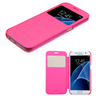 Book-Style Hybrid Case for Samsung Galaxy S7 - Hot Pink