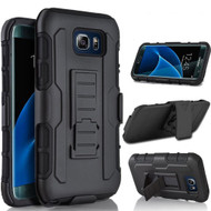 Robust Armor Stand Protector Cover with Holster for Samsung Galaxy S7 Edge - Black