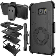 Anti-Shock Hybrid Case with Holster for Samsung Galaxy S7 - Black