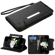 Designer Leather Wallet Shell Case for LG K7 / K8 / Escape 3 / Treasure LTE / Tribute 5- Black