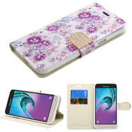 Art Design Portfolio Leather Wallet for Samsung Galaxy Amp Prime / Express Prime / J3 / Sol - Fresh Purple Flowers
