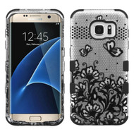 Military Grade TUFF Image Hybrid Case for Samsung Galaxy S7 Edge - Lace Flowers Black