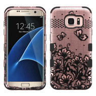 Military Grade TUFF Image Hybrid Case for Samsung Galaxy S7 Edge - Lace Flowers Rose Gold