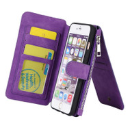 Luxury Coach Series Leather Wallet with Removable Magnet Case for iPhone 6 Plus / 6S Plus - Purple
