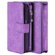 Luxury Coach Series Leather Wallet with Removable Magnet Case for Samsung Galaxy S7 - Purple