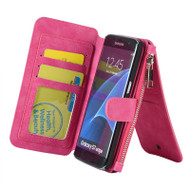 Luxury Coach Series Leather Wallet with Removable Magnet Case for Samsung Galaxy S7 Edge - Hot Pink