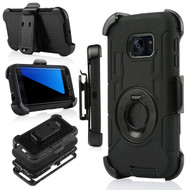 Anti-Shock Hybrid Case with Holster for Samsung Galaxy S7 Edge - Black