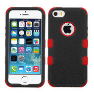 Military Grade Certified TUFF Hybrid Case for iPhone SE / 5S / 5 - Black Red