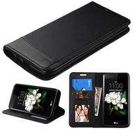 *SALE* Premium Leather Wallet Book Case for LG K7 / K8 / Escape 3 / Treasure LTE / Tribute 5 - Black