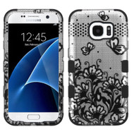 Military Grade Certified TUFF Image Hybrid Case for Samsung Galaxy S7 - Lace Flowers Black
