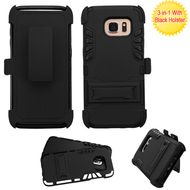 Dual Layer Hybrid Holster Armor Case with Kickstand and Belt Clip for Samsung Galaxy S7 Edge - Black