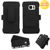 *SALE* Dual Layer Hybrid Holster Armor Case with Kickstand and Belt Clip for Samsung Galaxy S7 - Black