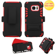 Dual Layer Hybrid Holster Armor Case with Kickstand and Belt Clip for Samsung Galaxy S7 - Black Red