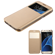 Book-Style Hybrid Case for Samsung Galaxy S7 Edge - Gold