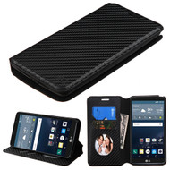Book-Style Leather Folio Case for LG G Stylo / Vista 2 - Carbon Fiber