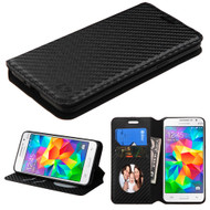 Book-Style Leather Folio Case for Samsung Galaxy Grand Prime - Carbon Fiber