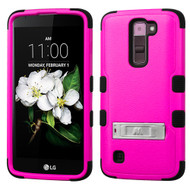 Military Grade Certified TUFF Hybrid Armor Case with Stand for LG K7 / Treasure LTE / Tribute 5 - Hot Pink