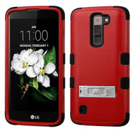 Military Grade Certified TUFF Hybrid Armor Case with Stand for LG K7 / Treasure LTE / Tribute 5 - Red